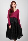 Sara Dotted Midi Skirt