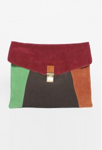 Moda Suede Block Clutch