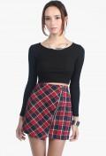 Dawson Asymmetric Plaid Skirt